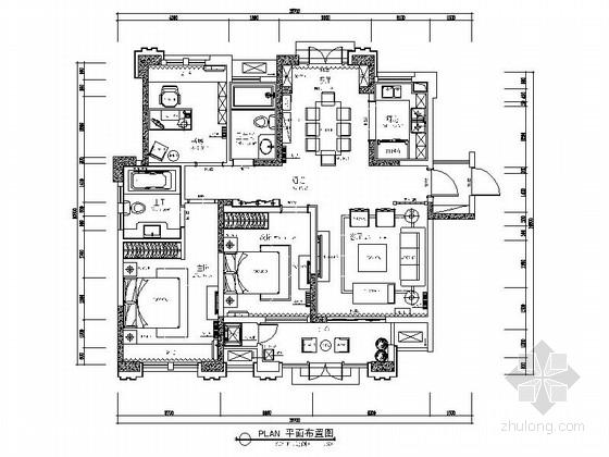 [芜湖]108㎡新中式三居室装修CAD施工图(含效果图,物料表)
