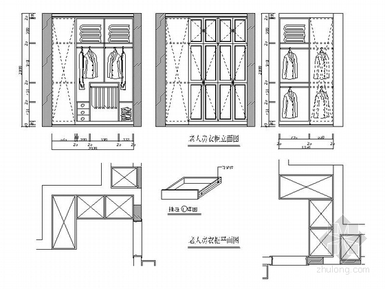 [银川]独具个性高层区混搭风格三居室样板间装修施工图(含效果及3Dmax模型)立面图