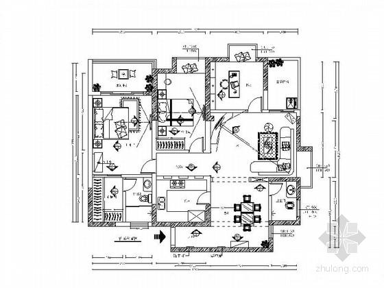 [广东]欧式三居室样板间装修设计施工图(含效果)