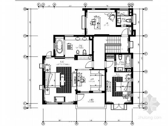[苏州]别致欧式独栋别墅样板房施工图(含效果图)图片