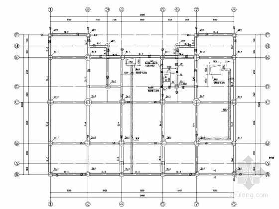 [辽宁]五层框架结构办公楼结构施工图(筏板基础)