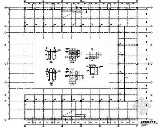 某大跨度33米钢结构桁架玻璃屋顶结构设计图