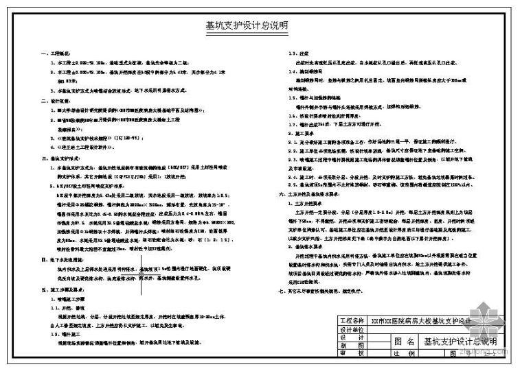 信阳市某医院病房大楼基坑支护设计图纸