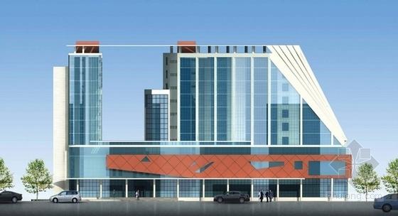 [天津]现代风格帆船状港务大楼建筑设计方案文本-现代风格帆船状港务大楼建筑立面图