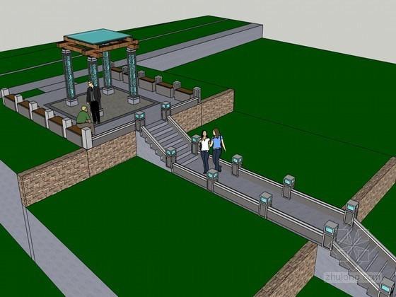 现代亭su模型资料下载-现代景观亭SketchUp模型下载