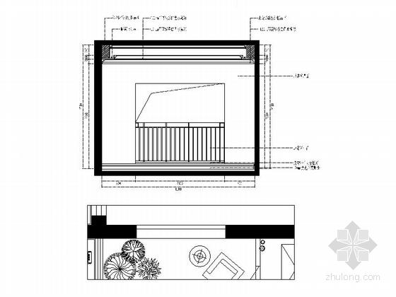 城市中心欧式风格六居室样板房装修图(含效果)生活阳台立面图
