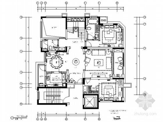 [安徽]简约欧式复式3居室室内设计全套施工图