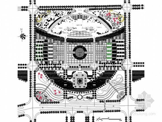 办公区广场景观绿化施工平面图