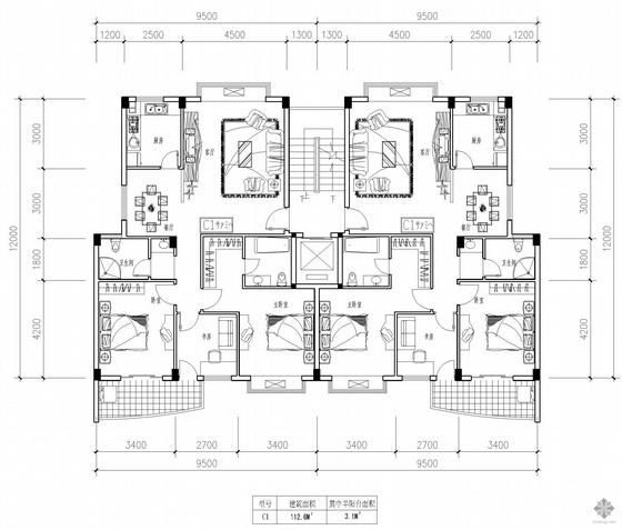 板式高层一梯两户户型图(112/112)