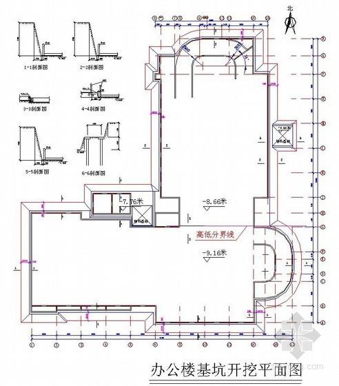 [北京]办公楼土方开挖施工方案(开挖平面图)