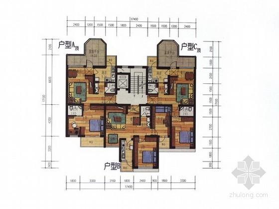 高层住宅一梯三户型平面图(57、62、74平方米)