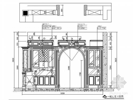 [上海]鸟语花香古典欧式风格独栋别墅样板间装修施工图(含高清实景)过道立面图