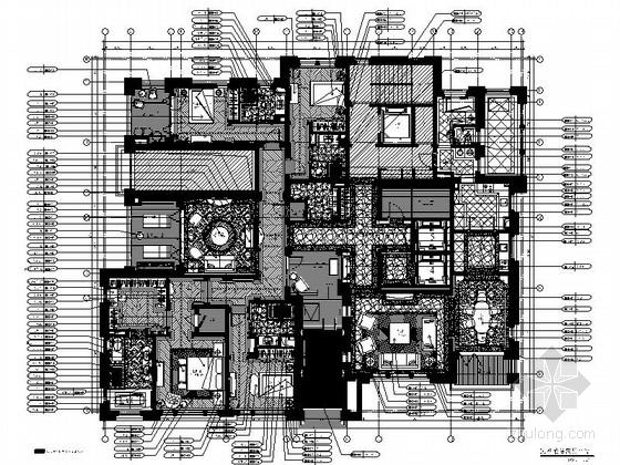 [上海]得天独厚创新简欧风格豪华别墅室内装修施工图(含方案)