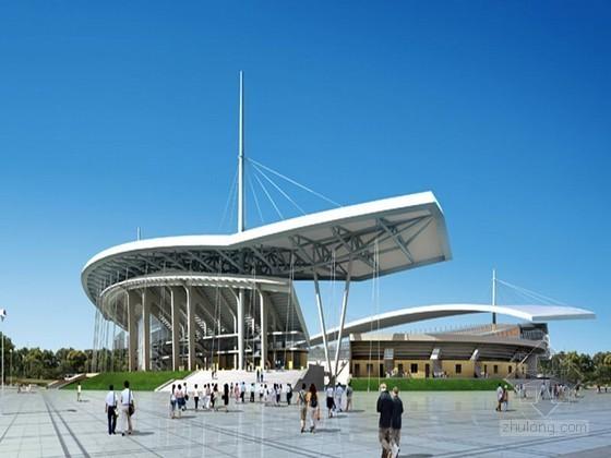 体育广场建筑效果图后期PSD素材