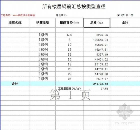 [毕业设计]小学综合教学楼工程预算(含工程量计算及图纸)