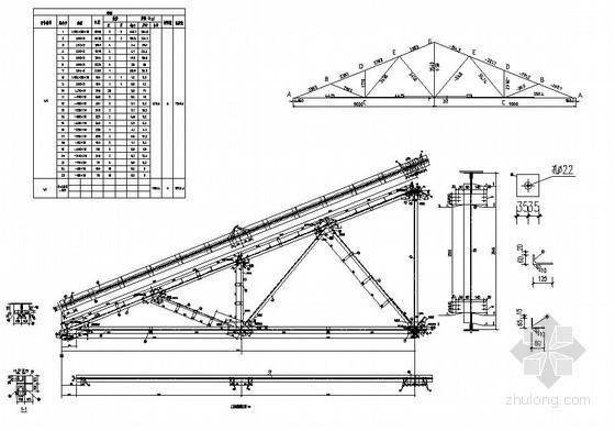 某三角形钢屋架构造详图