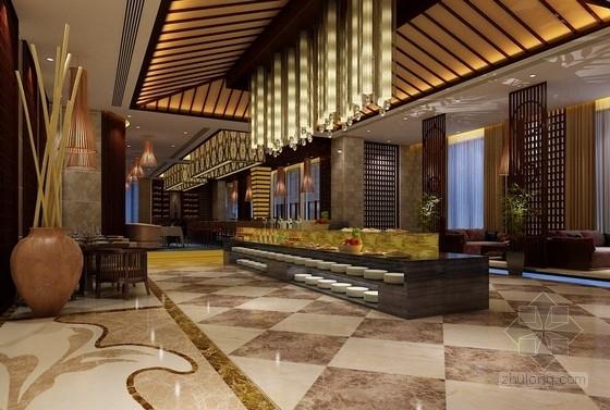 [江西]高档次一流特色中式风情四星级酒店装修方案图西餐厅效果图