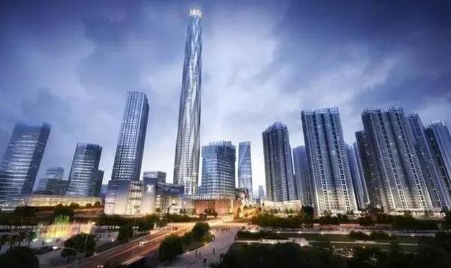 西部第一高楼绿地中心首用塔机迴转平台,5天一层2018年底完工