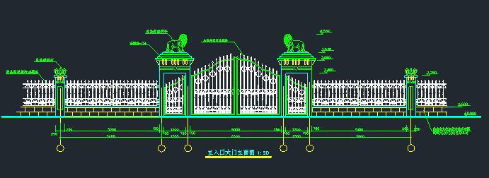 围墙铁艺栏杆方案CAD图_1