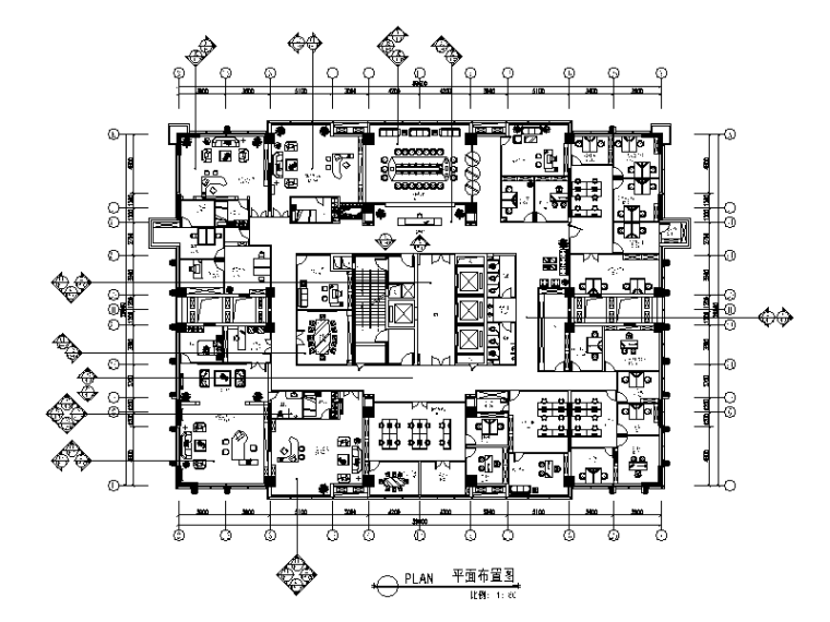 [重庆]某大厦办公室设计全套施工图(含效果图)