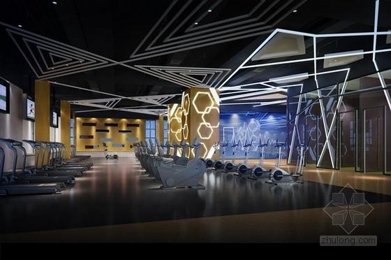 [广州]时尚动感前卫健身俱乐部室内施工图(含效果图)-[广州]时尚动感前卫健身俱乐部室内器械区效果图