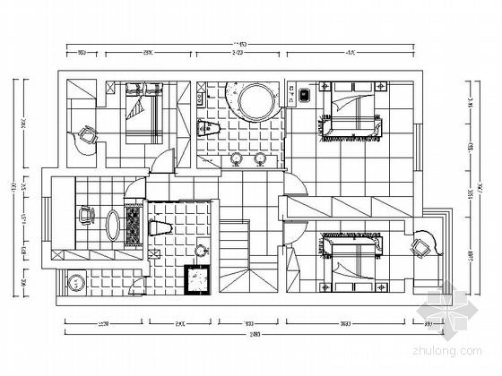 [原创]复古新中式复式三居室内设计CAD施工图