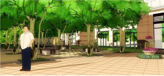 林荫树阵效果图