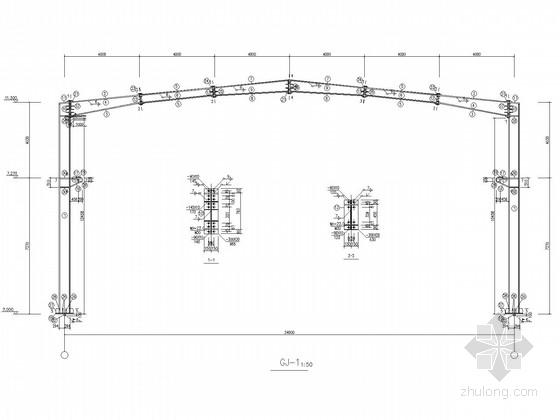 24米跨门式刚架干煤棚结构施工图