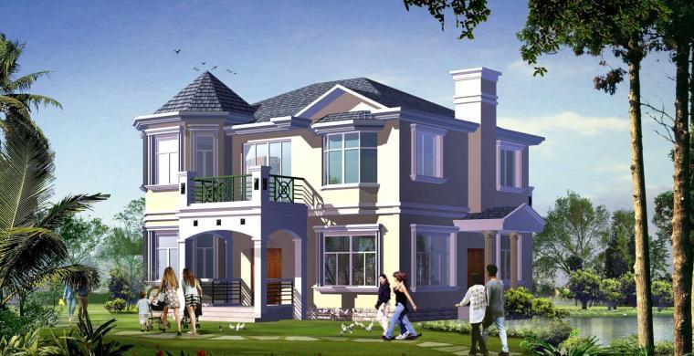 二层别墅建筑设计文本(包含效果图+施工图)