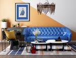 橙蓝拼色抽象画客厅局部