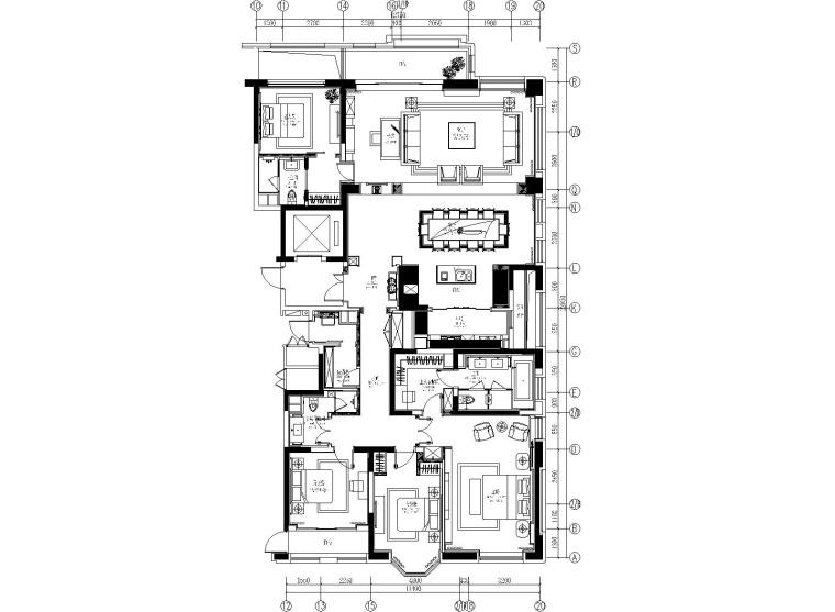 [上海]紫香柯-上海万科翡翠滨江五居室样板间施工图+设计方案