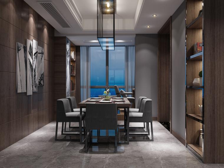 现代客餐厅3D模型下载_3