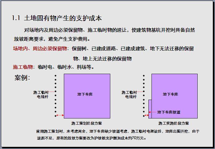 房地产设计阶段成本控制细则125页(图文并茂)目录:一、规划对施工的成本控制二、组团规划中的成本控制三、建筑层高中的成本控制四、非可售面积的成本控制五、地下停车库的成本控制六、机电设计中的成本控制......规划对施工的成本控制:1、支护成本 2、土...