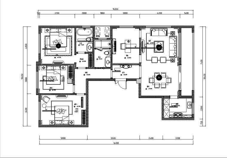 [上海]一套完整的法式样板间设计施工图(含效果图)
