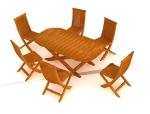 六人餐桌椅3D模型下载