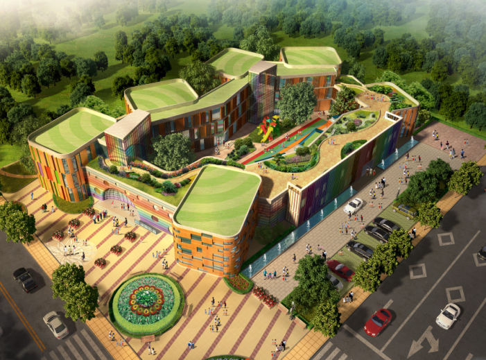 公建北大资源新幼儿园建筑设计方案施工图(CAD+效果图)