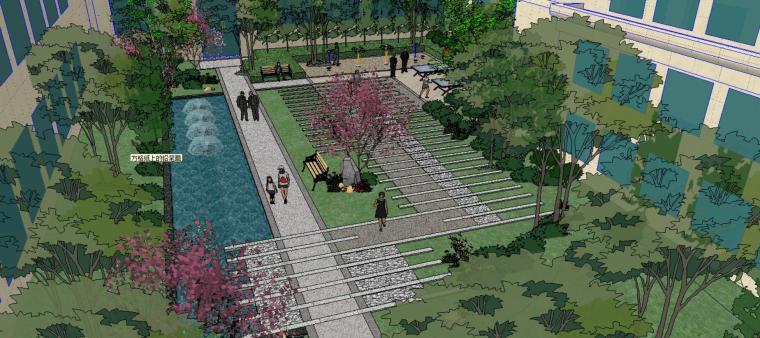居住小区精致庭院su模型设计