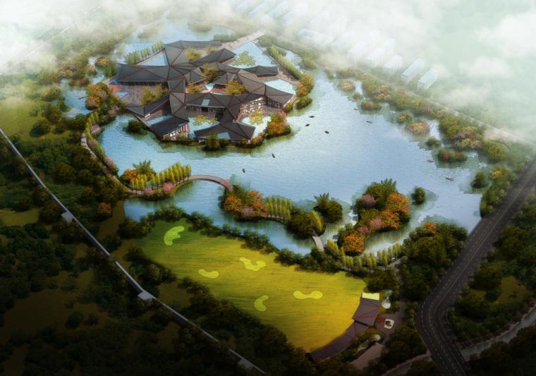 [河南]新中式风格临湖酒店方案规划文本(高清效果图)