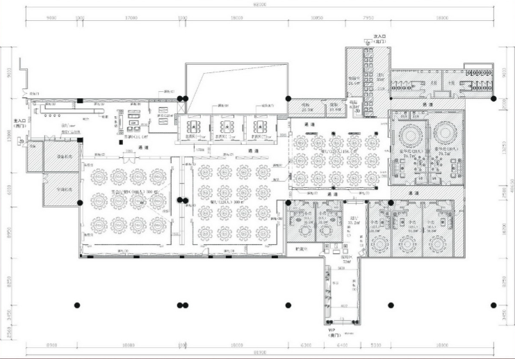 白云国际机场金龙美酒美食城改造项目施工图(含效果图)-平面布置图施工图JPG