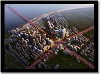 建筑规划效果图鸟瞰黄昏后期制作-设计连连看_8