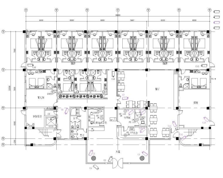 上海某七层快捷酒店安防系统平面图