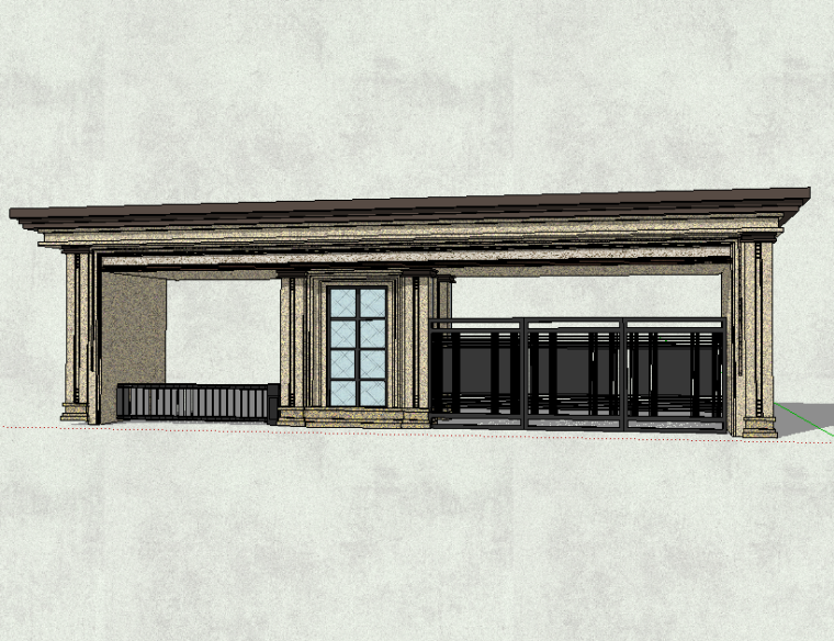新中式风格大门入口模型设计