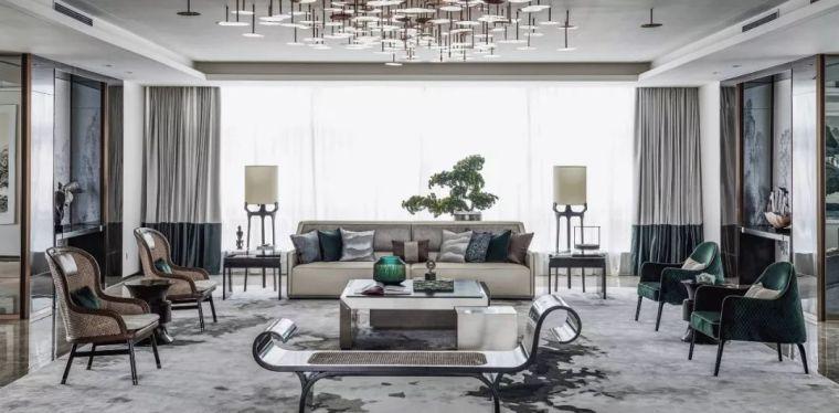 新中式的设计与现代审美完美集合组成了室内高雅的艺术格调