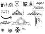 花瓶、线条、罗马柱造型、花式浮雕及雕塑造型大样图