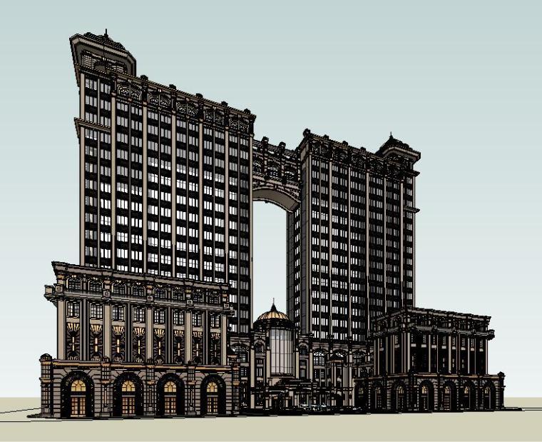UA城的平凡建筑资料下载-土豪金奢华古典欧式威尼斯风格金象城建筑模型设计
