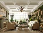 美式田园绿植休闲住宅客厅空间设计3D模型(附效果图)