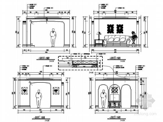 [辽宁]浪漫欧式风格两层别墅样板房室内装修施工图(含实景图)-[辽宁]浪漫欧式风格两层别墅样板房室内装修施工图客厅立面图