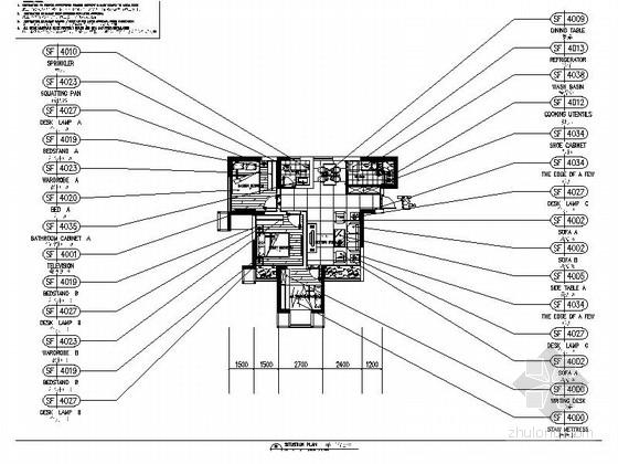 小巧简约现代风格三居室室内装修施工图