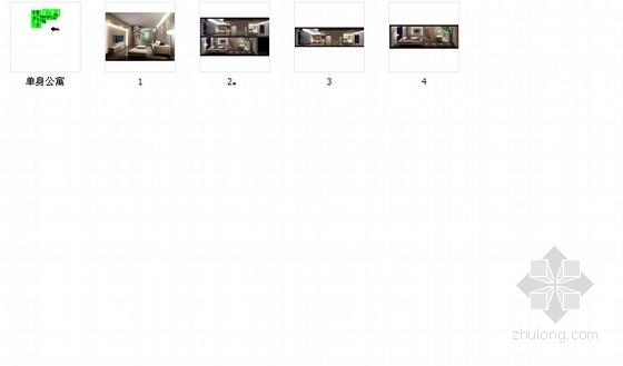 时尚现代单身公寓装修施工图(含效果图) 总缩略图