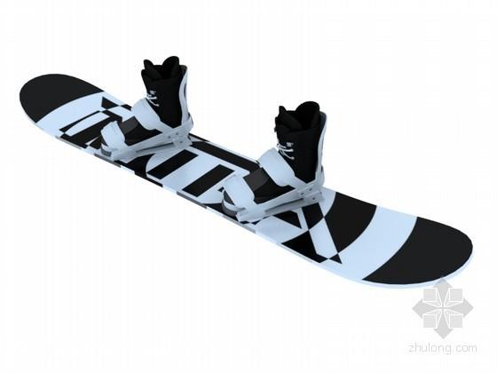 穿孔板铝板贴图资料下载-滑雪板3D模型下载